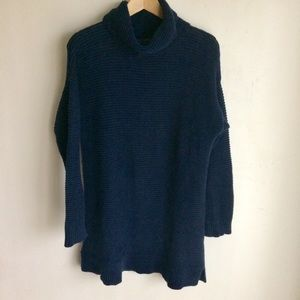 Lands End Cowl Neck Ribbed Navy Sweater Size M